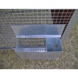 hay racks and feeders on Cage for hares